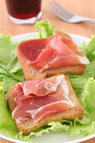 Toasts with ham Stock Photos