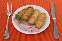 Toasts with ham Stock Image