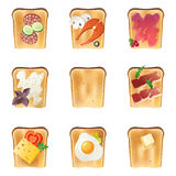 9 toasts. 9 highly detailed toasts icons Royalty Free Stock Photo