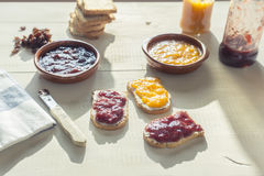 Toasts with homemade jam in colorized vintage Royalty Free Stock Photography
