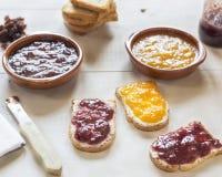 Toasts with homemade jam Stock Photo