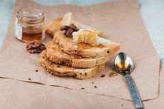 Toasts and honey Royalty Free Stock Photography