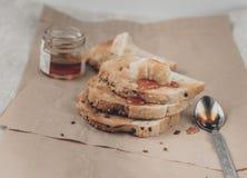 Toasts and honey Stock Photo