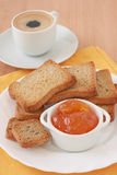 Toasts with jam and coffee Royalty Free Stock Photos