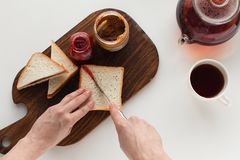Toasts with jam and peanut butter Royalty Free Stock Photography
