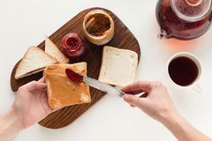 Toasts with jam and peanut butter Royalty Free Stock Images