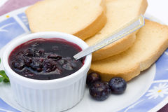 Toasts and jam on a plate Stock Image