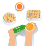 Toasts, Juice And Cookies Set Of Classic Breakfast Food Products And Menu Items Stock Photos