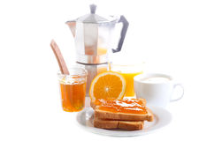 Toasts with orange marmalade Stock Photos