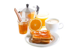 Toasts with orange marmalade Royalty Free Stock Photography