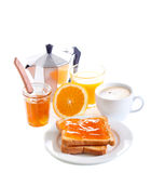Toasts with orange marmalade, Royalty Free Stock Images