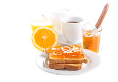 Toasts with orange marmalade Royalty Free Stock Images
