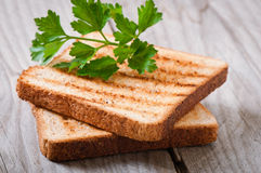 Toasts with parsley Royalty Free Stock Images