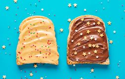 Toasts with peanut and chocolate butter. Two slices of toast for a delicious Breakfast Royalty Free Stock Photography