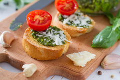 Toasts with pesto sause and tomatoes Royalty Free Stock Image