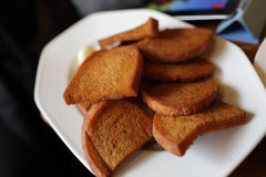 Toasts on a plate Stock Photo
