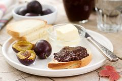 Toasts with plum chocolate jam. Breakfast in the garden. Rustic style, selective focus. Stock Photography