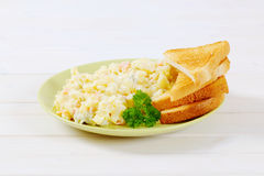Toasts with potato salad Stock Image