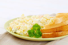 Toasts with potato salad Stock Photos
