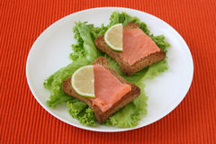 Toasts with salmon Stock Photography