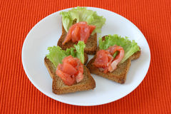 Toasts with salmon Royalty Free Stock Photography