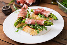 Toasts (sandwich) with asparagus Royalty Free Stock Photo