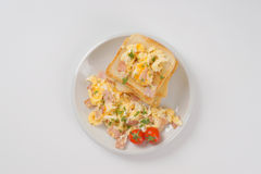 Toasts and scrambled eggs Stock Image