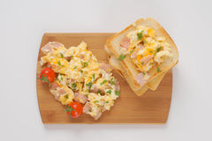 Toasts and scrambled eggs Royalty Free Stock Photo