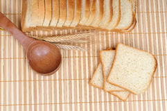 Toasts with a spoon and cereals Royalty Free Stock Images