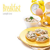 Toasts with tuna and homemade cheese for breakfast, isolated Stock Photos