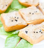 Toasts with tuna paste Stock Images