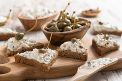 Toasts With Cheese Pate And Capers, Selective Focus Stock Image