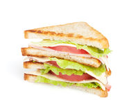 Toastsandwich mit Fleisch und Gemüse lizenzfreie stockfotografie
