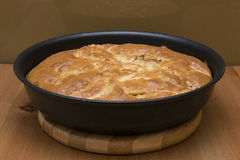 Toasty apple pie in the pan Stock Photography