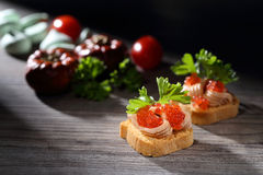 Toats with pate and caviar. Toats with pate, caviar and food background Royalty Free Stock Images