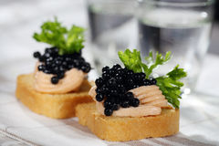Toasts with pate and caviar. Toasts with pate, caviar and vodka Royalty Free Stock Photography