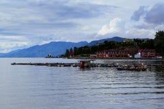 Toba湖在北部苏门答腊岛印度尼西亚 免版税库存图片