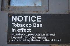 Tobacco Ban Sign Cigarettes Health Notice Metal Door Royalty Free Stock Image