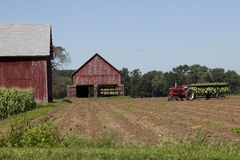 Tobacco barns and tractor Royalty Free Stock Photos