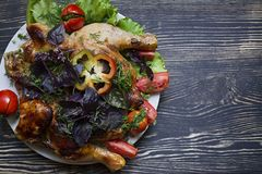 Tobacco Chicken and Fresh Vegetables stock image