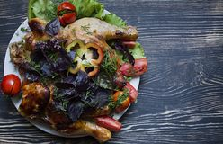 Tobacco Chicken and Fresh Vegetables royalty free stock photos