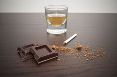 Tobacco chocolate and whiskey stock photos