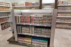 Cigarette store shelf in Travel Free shop. Skofije, Slovenia. Stock Photography
