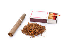Tobacco and cigarette on white background Royalty Free Stock Photography