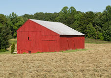 Tobacco Drying Barn. Drying barn in southern Maryland, formerly used to dry tobacco leaves (Nicotiana tabacum), now painted red, with a silver painted metal roof stock photos