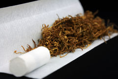 Tobacco with filter tip and paper Stock Photo