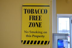 Tobacco Free Zone Sign No Smoking On This Property Stock Images
