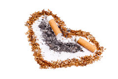 Tobacco heart with a butts. Tobacco heart symbol with a butts and a cigarette ash inside royalty free stock images