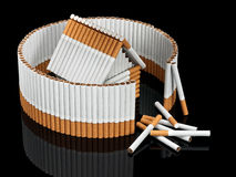 The tobacco house behind not completed fence from cigarettes Stock Photos