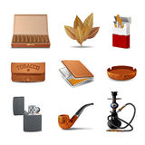 Tobacco Icon Set Stock Images